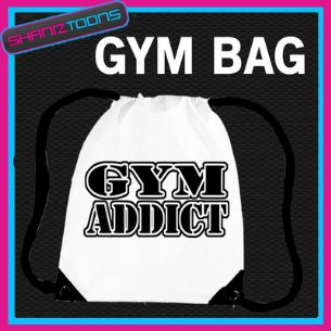 GYM ADDICT BODYBUILDER DRAWSTRING WHITE GYMSAC BAG